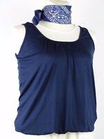 Top Gr.40-50 one size free size Bündchen Gummibund Träger blau Blumen NEU  w