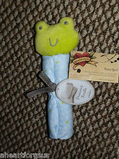 CARTERS SECURITY BLANKET FROG RATTLE ROLLED STARS PRECIOUS FIRSTS BLUE GREEN NEW