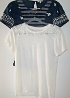 Lucky Brand Lot Of 2 Tops Women S Navy Embroidered/Smocked & White Tee w/ Eyelet