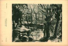 Gravure ancienne photo Hypérion Camille Pissarro gardeuse d'oies issue du livre