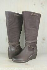 UGG LESLEY STOUT LEATHER  WOMENS WEDGE Waterproof BOOTS US 12 NIB