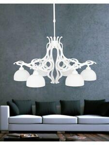 Modern Chandelier White Shabby Chic Hanging 6 Lights Dese-186