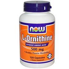 Now Foods L-Ornitina - 500mg x 120 Cápsulas - Proteína Metabolismo Tratamiento -