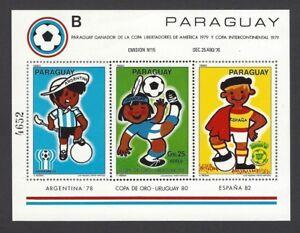 Paraguay 1980 World Cup Football souvenir sheet MNH Scott 1981