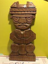 Vtg large Hawaiian tiki God wood carving native Aztec King sculpture art Asian