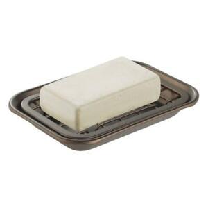 mDesign MetroDecor Kitchen and Bathroom Soap Dish Tray - Bronze