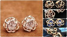 GOLD Plated Cubic ZIRCONIA Rose Pierced Stud Earrings | FREE Shipping UK