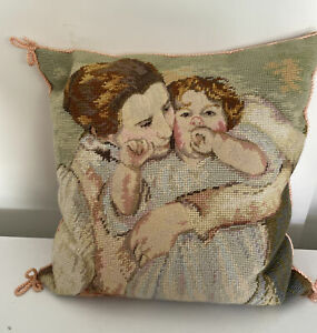 """VTG Handmade KATHA DIDDLE COLLECTION Mother Needlepoint Parlor Pillow 14""""SQUARE"""