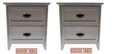 Pair of White Gloss Wooden Small 2 Drawer Bedside Table/Cabinet Storage Cupboard