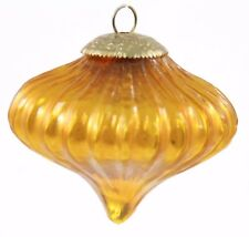 Vintage Kugel Style Yellow Gold Glass Top Christmas Ornament Holiday Decoration