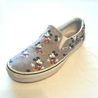 Vans Disney Shoes Gray Mickey Mouse Canvas Casual Slip On Men's 9 Women's 10.5