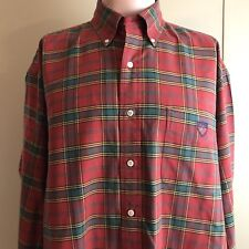 Ralph Lauren The Big Shirt Men's Red Plaid Long Sleeve Button Up Shirt Medium