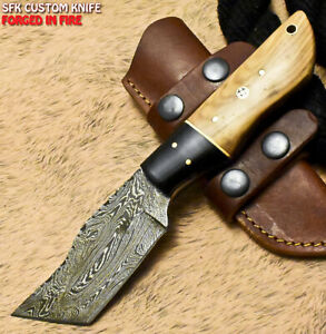 SFK Hand Forged Damascus Steel Olive Wood Hunting Skinner Knife