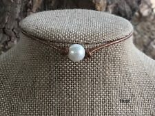 """14"""" Rustic Leather Pearl Choker, Rustic Leather Pearl Necklace, Boho Choker"""