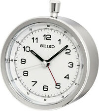 NEW SEIKO ALARM CLOCK ROUND WHITE DIAL STOPWATCH STYLE SNOOZE BUTTON GREY CASE