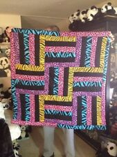 """Handmade Bright Colored Animal Prints Quilt, Approx 39""""x39"""""""