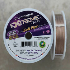 Soft Flex Champagne Color Fine Beading Wire, 30 Foot Spool