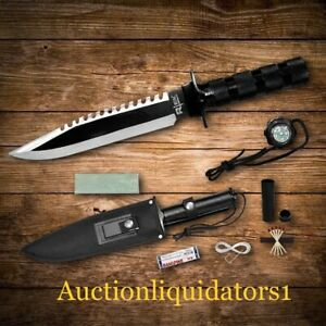 "12"" Tactical Prepper Hunting Camping Silver & Black Survival Knife with Compass"