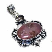 "Rhodonite, Smokey Quartz Gemstone Handmade Ethnic Jewelry Pendant 2.4"" AL-15351"