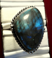 New BLUE LABRADORITE Ring sz10 Large Table Cut Triangle stone 925 Silver Jewelry