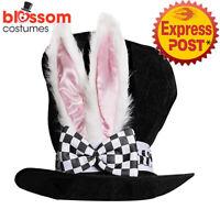 N4 Mad Hatter Tea Party Bunny Ears Top Hat Alice In Wonderland Costume Book Week