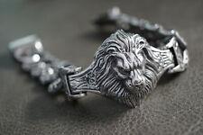 Silver Lion Road Route King Chain Bracelet For Harley Davidson Motor Biker 242