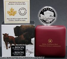 "2014 $20 Canadian ""The Bison:Family At Rest""  Silver Coin 1oz Proof in OGP"