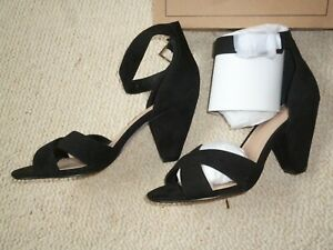Asos Black Suede Cone Heel ankle strap Shoes/Sandals NEW,Smart/Casual/Work/Party