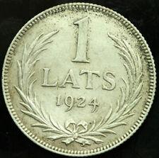 LATVIA 1 LATS 1924 SILVER COIN (XF) #327