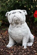 Steinfigur Bulldogge Frostfest Gartenfigur Steinguss Hund Dekoration Mops