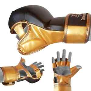 GOLD 8oz 7oz  sparring MMA Glove UFC Grappling Fight Boxing Punch Bag Training 1