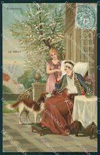 Soldier Lady Dog WWI postcard cartolina QT6820