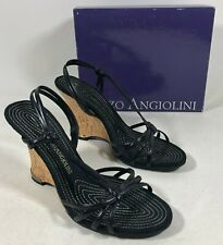 Enzo Angiolini Jingoo Black Leather Slingback Shoes Wedge Heels Women's 7.5M NIB