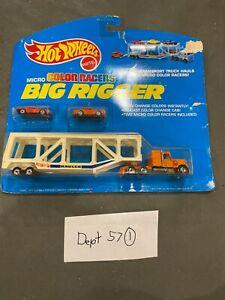 Hot Wheels Big Rigger Micro Color Racers Mini Transport Truck Hauls Orange Cab
