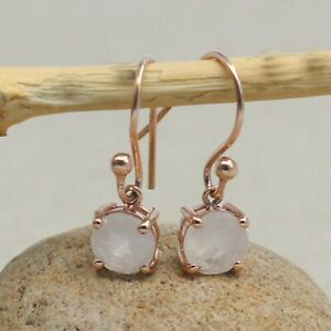 925 Sterling Silver Jewelry  Round Rose Gold Plated Rainbow Moonstone SE2588