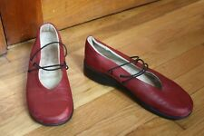 Arcopedico 40 9 Red Leather Elastic Strap Flats Softskin Ergonomic Footwear