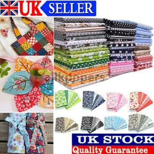 7X 25x25cm 100% Cotton Fabric Assorted Pre-Cut Fat Quarters Bundle DIY Decor UK