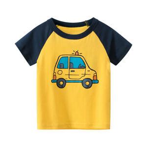 Kids Top Short Sleeve Boys Car T-shirt Girls Collarless Tee Shirt 100% Cotton  ^
