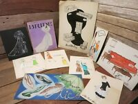 Vintage Original Art Drawing Illustrations Clothes, Shoes, Furniture and Other!