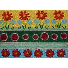 Bayliss GARDEN PATTERN COIR DOOR MAT PVC Back 40x60cm,RED FLOWER & CIRCLE DESIGN