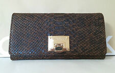 BNWT MICHAEL KORS BROWN EXOTIC PYTHON EMBOSSED LEATHER LOCKET WALLET CLUTCH HOT