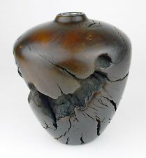 Burl Wood Vase Dark Solid Wooden Hand Turned Crafted Natural Knotty Knotted Art