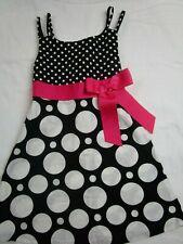 Girl 4 Black White Polka Dot Pink Ribbon Dress JESSICA ANN Spring Summer Easter
