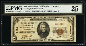 SAN FRANCISCO 1929 TYPE 1, $20 NATIONAL CURRENCY, PMG CERTIFIED VF25, FR-1802-1
