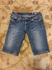 Buckle MISS ME Thick Stitch Flap Pocket Bermuda Jean Shorts Size 28 Cute Sexy