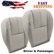 Driver Amp Passenger Bottom Leather Seat Cover Fits 2007 2014 Chevy Silverado Gray