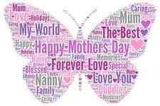 Personalised Word Art Butterfly Print A4 Mum Mothers Day Mummy Birthday Xmas