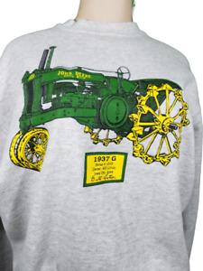 Vintage John Deere 1937 G Tractor Sweat Shirt Tultex Sz Large Farm Equipment