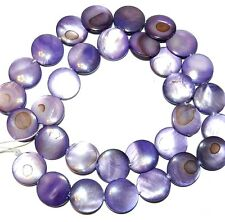 """MP618 Purple 12mm Flat Puffed Round Mother of Pearl Shell Gemstone Beads 15"""""""