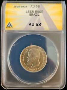 1868 Brazil 500 Reis Silver Coin ANACS AU58 (About Uncirculated) Pedro II
